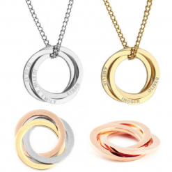 personalised linking circle necklace - gold tone - any names emgraved