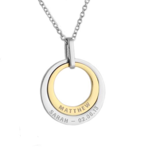 personalised family circles pendant necklace silver and gold duo