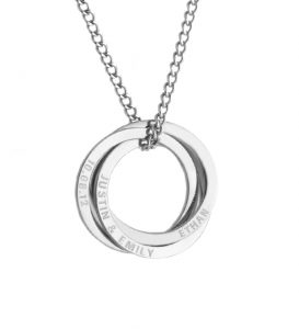 personalised linking circle necklace - silver tone - any names emgraved