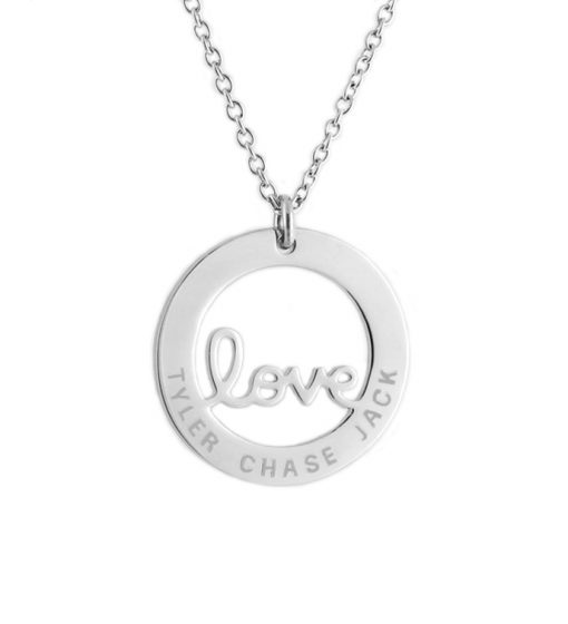 personalised love pendant necklace silver